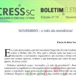 Boletim Eletrônico nº 74 – NOVEMBRO – o mês da resistência!